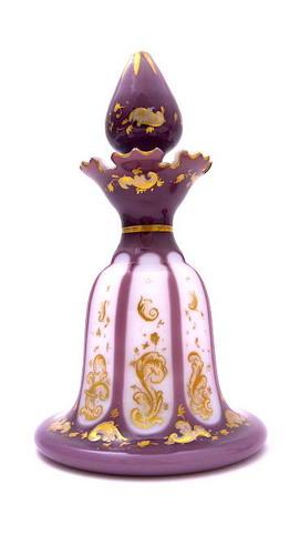 Rare AntiqueBohemian Purple and White OpalineOverlaid Perfume Bott