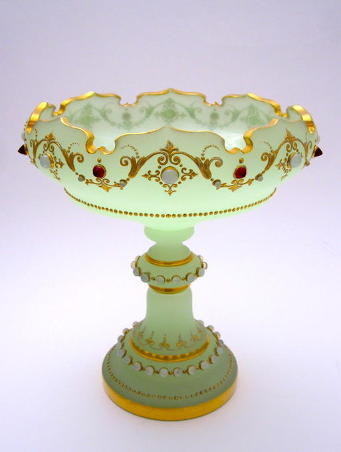 Antique French Green Opaline Glass Jewelled Bowl