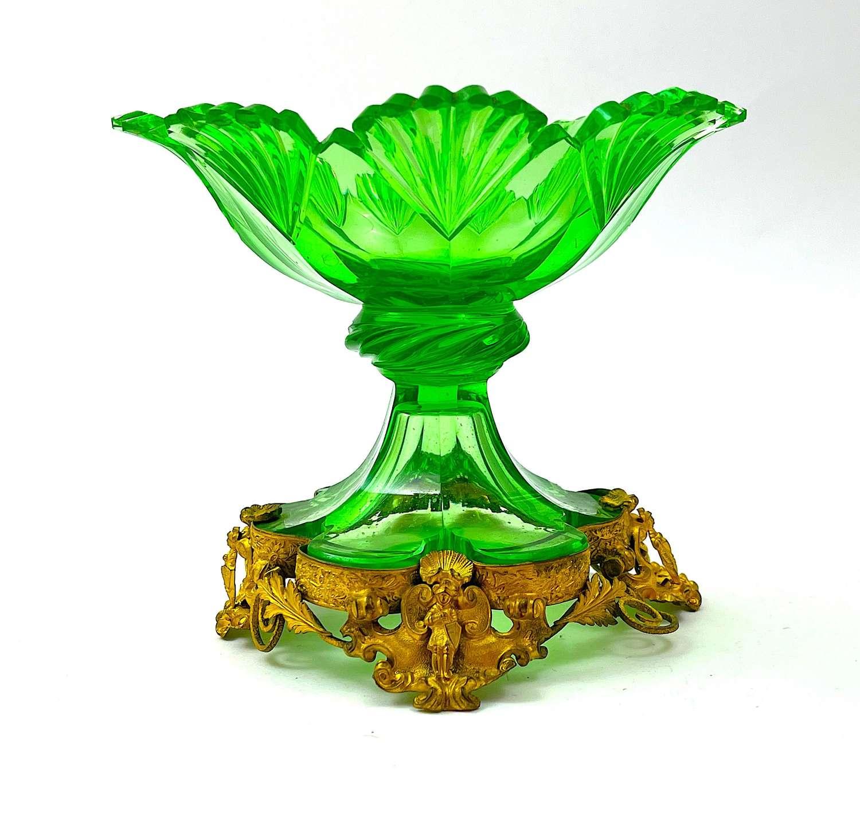 Antique Bohemian Circa 1840 Uranium Cut Glass Bowl