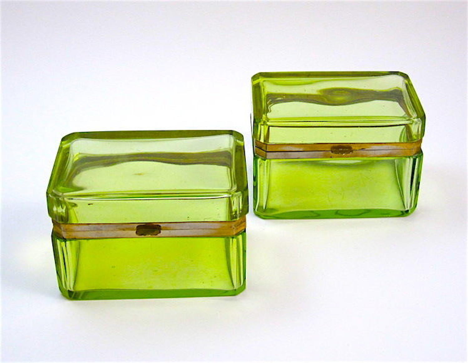 Pair of Antique Rectangular Uranium Glass Caskets with Bronze Mounts.