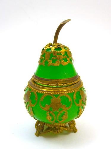 Antique Palais Royal Green Opaline Glass Pear Box