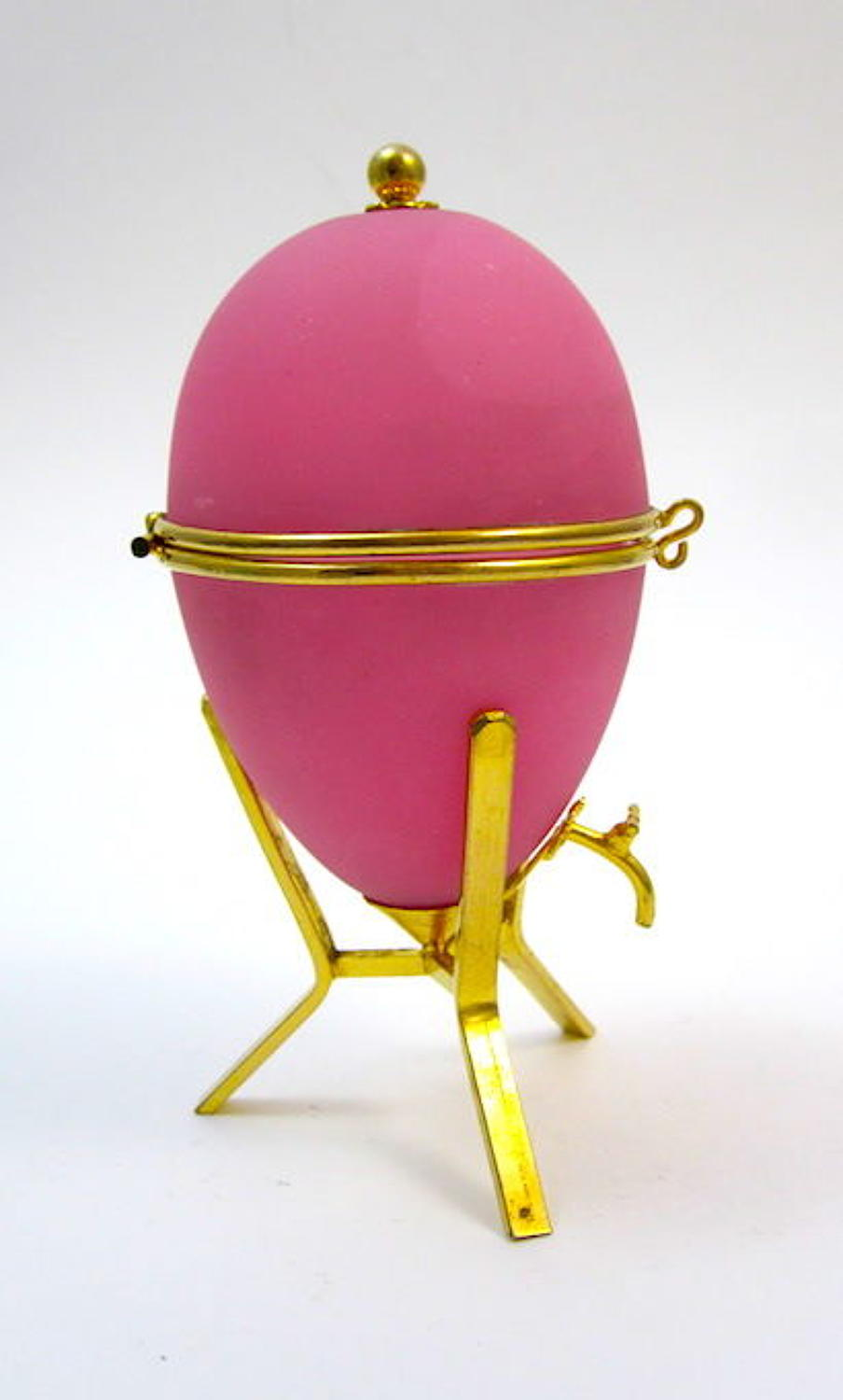 Antique Pink Opaline Glass Egg Shaped Box