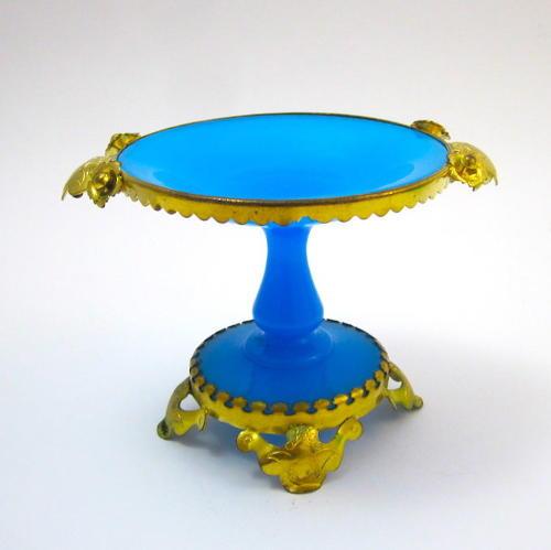 Antique French Palais Royal Blue Opaline Glass Bowl
