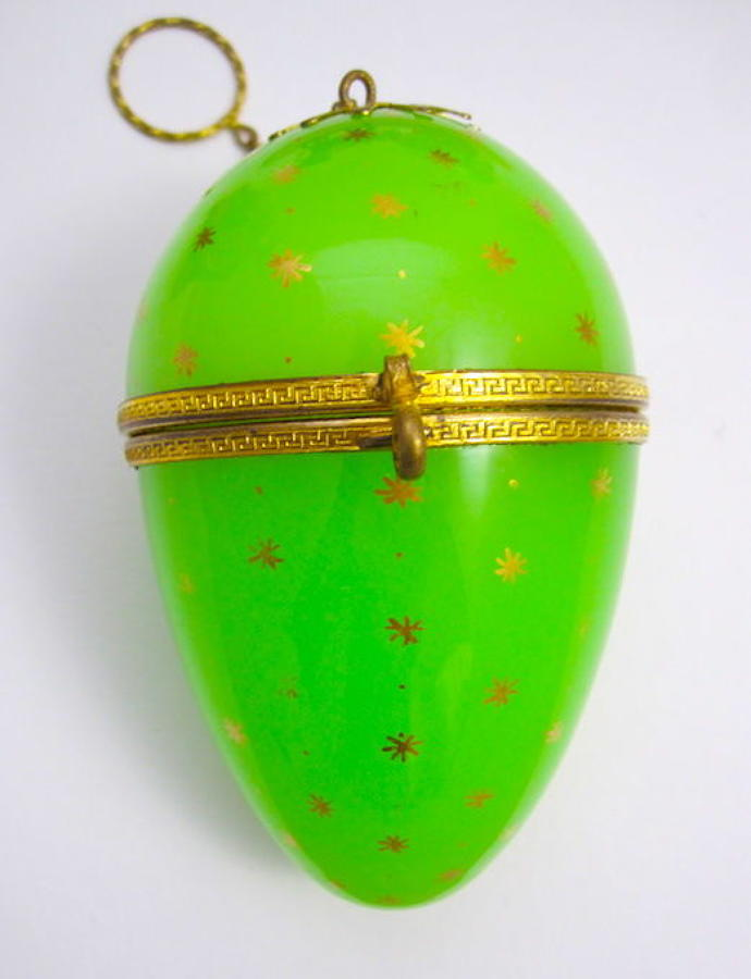 XL Large Antique Palais Royal Green Opaline Glass Egg Chatelaine