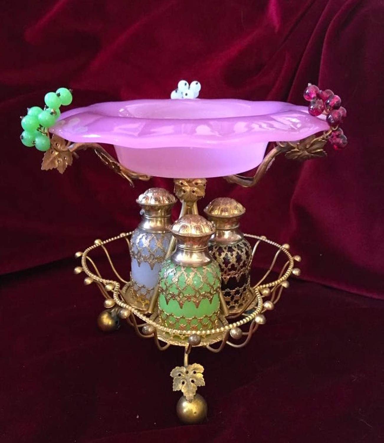 Rare Antique Palais Royal Opaline and Dore Bronze Perfume Set.