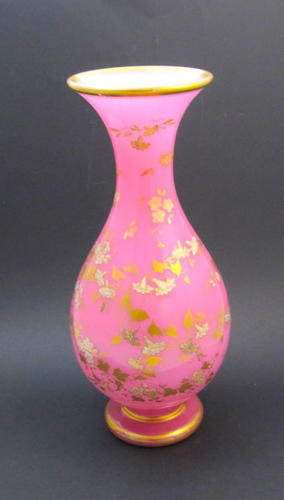A Tall Elegant Antique French Finely Gilded Pink Opaline Vase