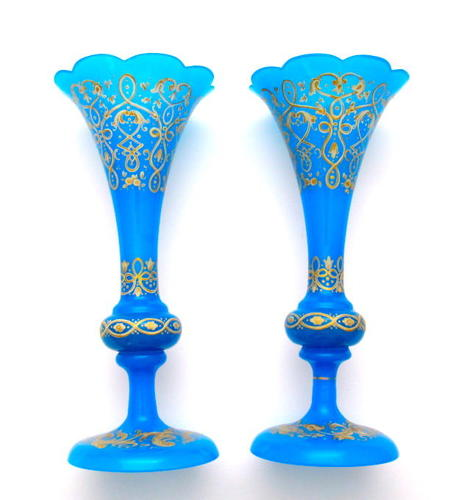 Pair of Antique Bohemian Blue Opaline Glass Vases with Enamelling