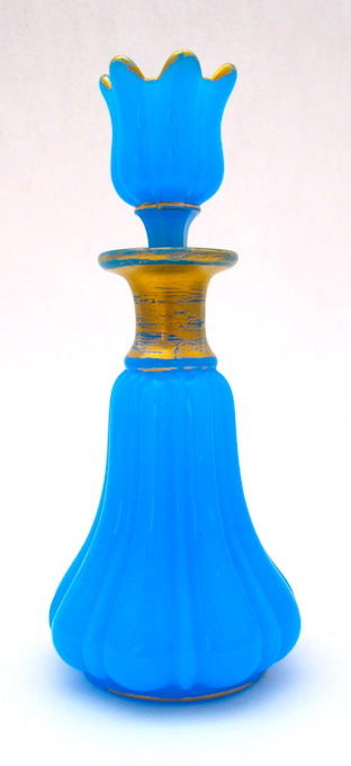 Antique BaccaratBlue Opaline Glass Perfume Bottle and Flower Stopper