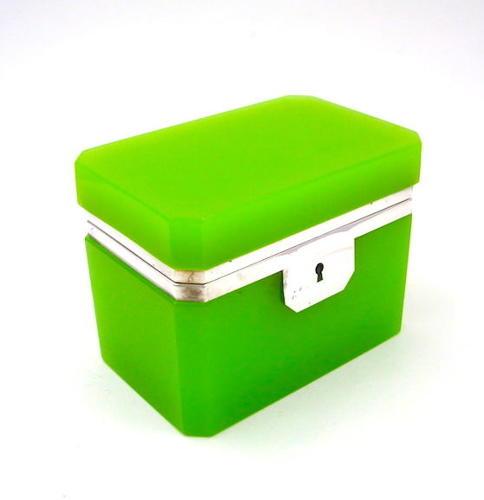 Vintage Italian Murano Green Opaline Glass Casket Box