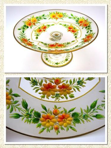 Stunning Antique Bohemian MOSER Enamelled Bowl Decorated with Fruit.