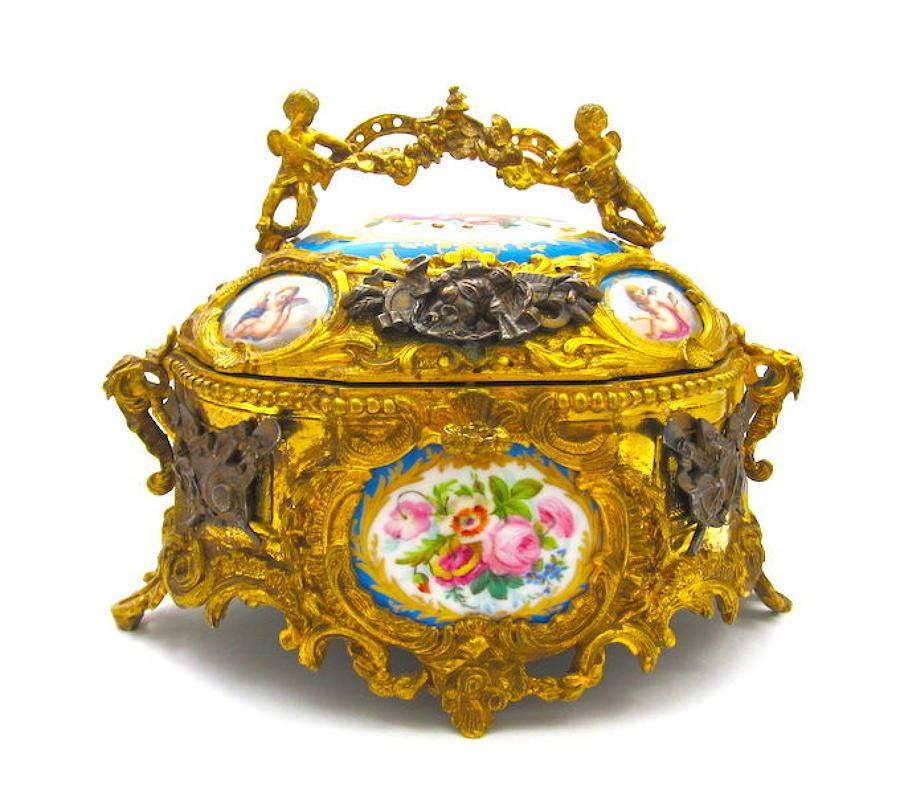 Fabulous Antique FrenchPorcelain Mounted Dore Bronze Casket