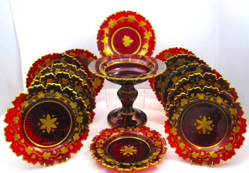 High Quality Antique Bohemian Ruby Red and Gold Crystal DiningSet