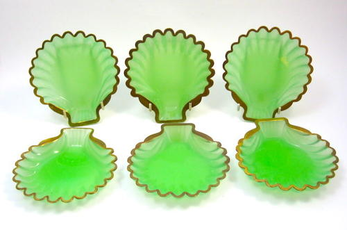 A Set of 6 Antique French Opaline Glass Scallop Shell Dishes