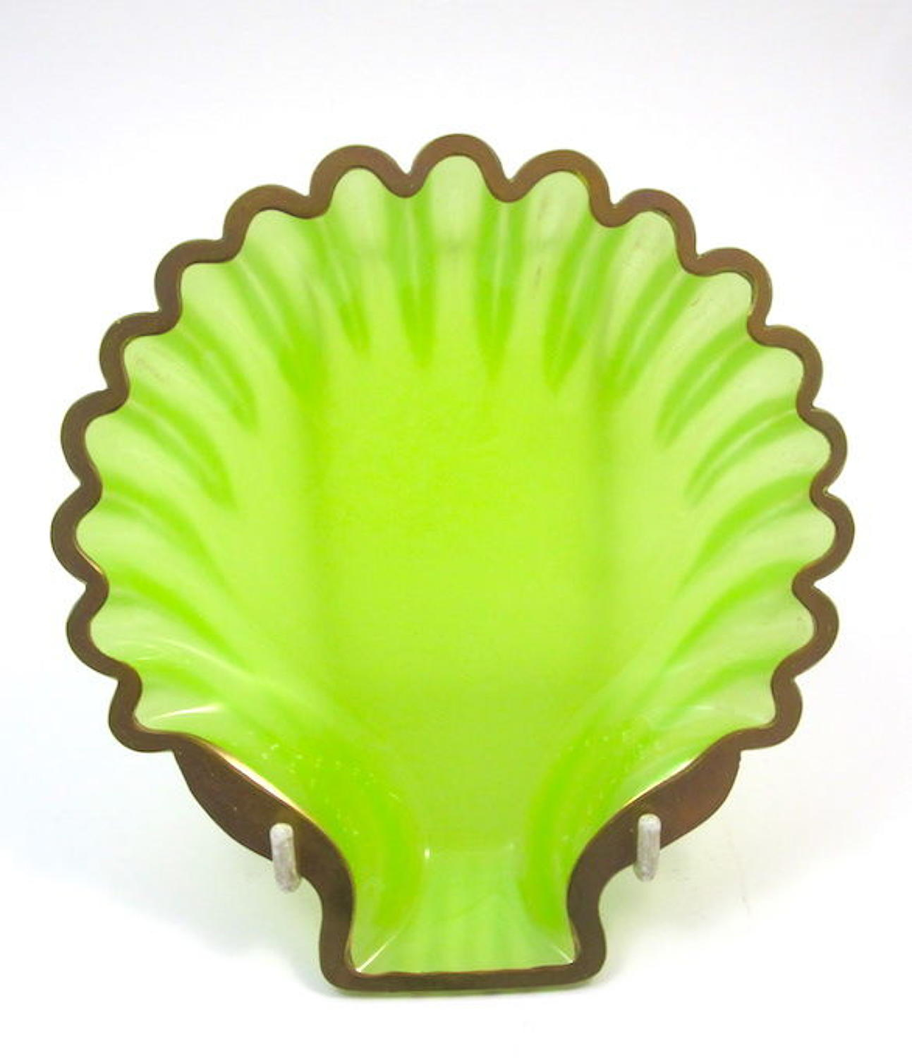 Antique French Green Opaline Glass Scallop Shell Dish