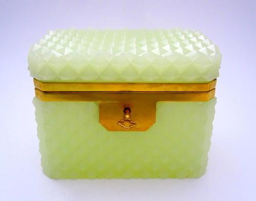 Antique Lemon Opaline Glass 'Diamond Cut ' Rectangular Casket Box