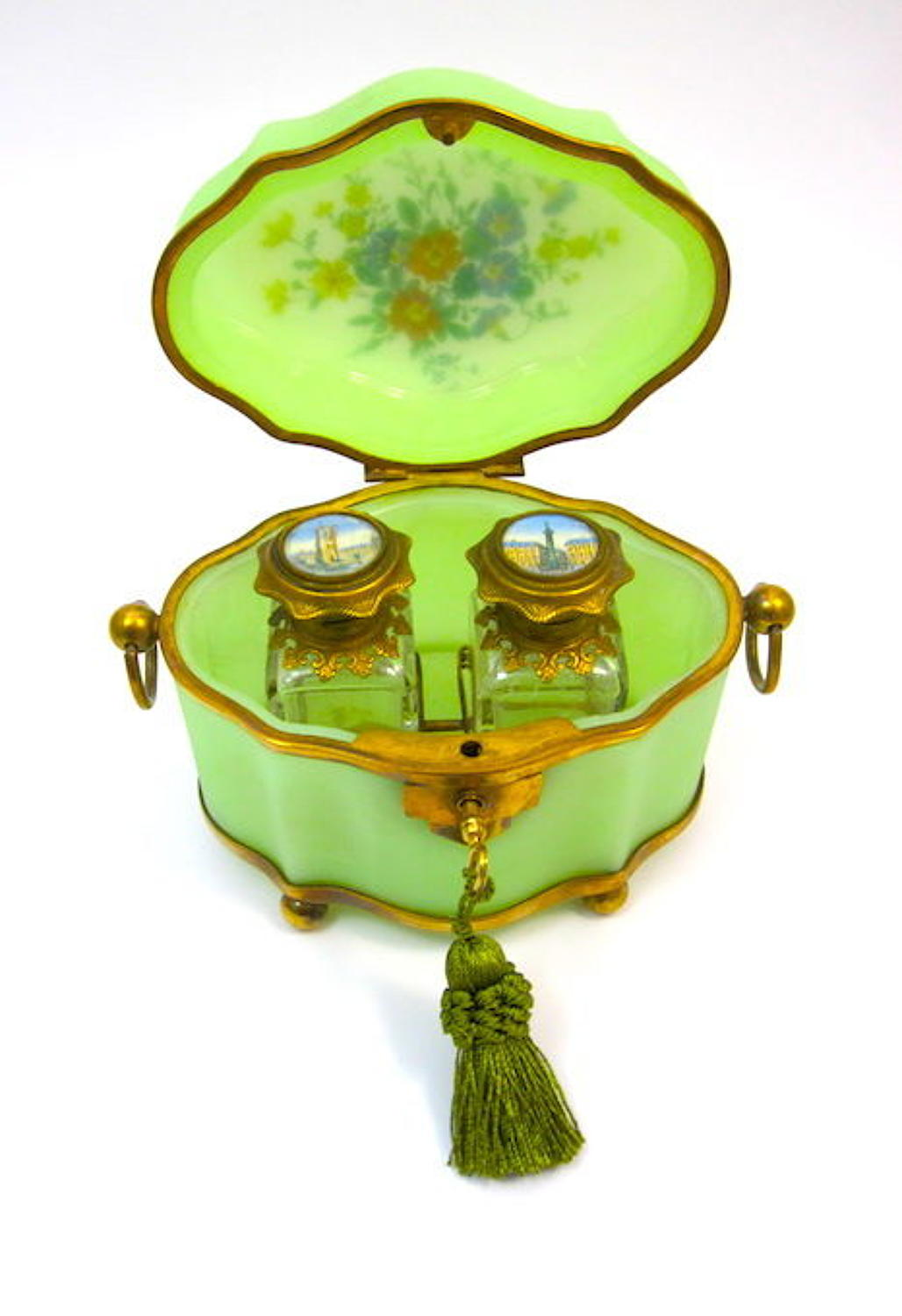 Large Antique Green Opaline Oval Perfume Casket
