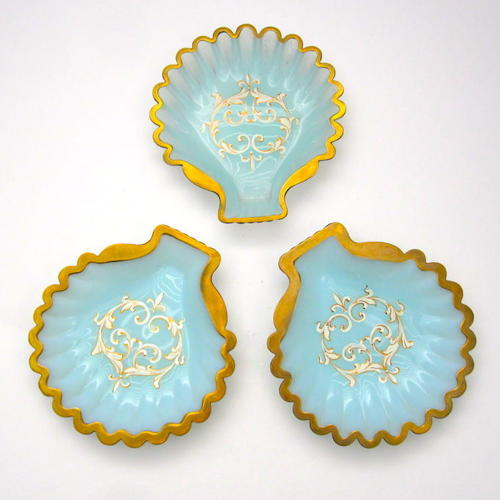 A Set of 3 Unusual Antique French Opaline Glass Scallop Shell Dishes