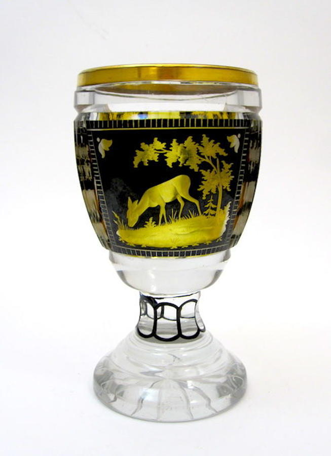Antique Bohemian Engraved Glass Beaker
