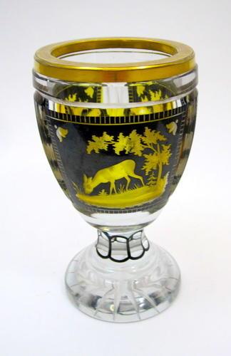 Antique Bohemian Engraved Glass Beaker