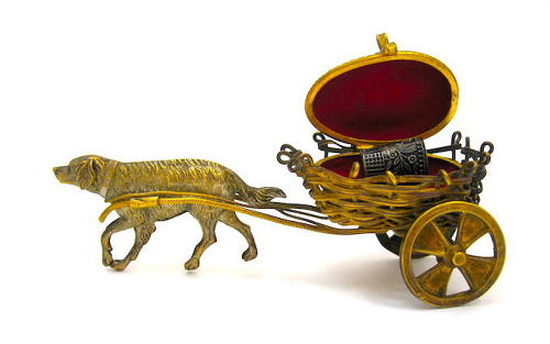 Unusual Antique Palais Royal Dore Bronze Dog Cart Thimble Holder