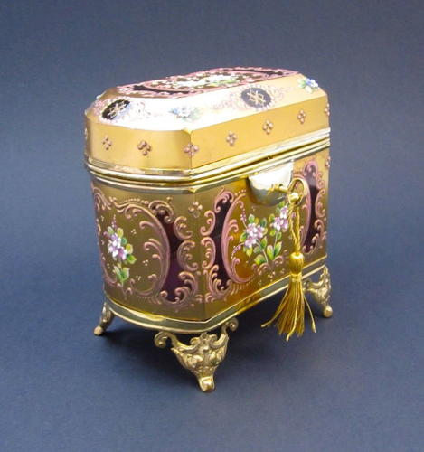 Antique Cranberry MOSER Casket with Applied Glass Flowers