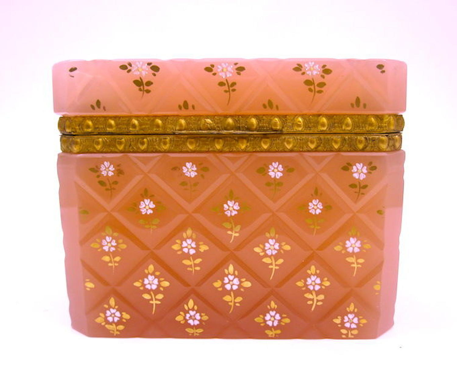 Antique French Peach Pink Opaline Glass Casket Box with Pretty Flowers