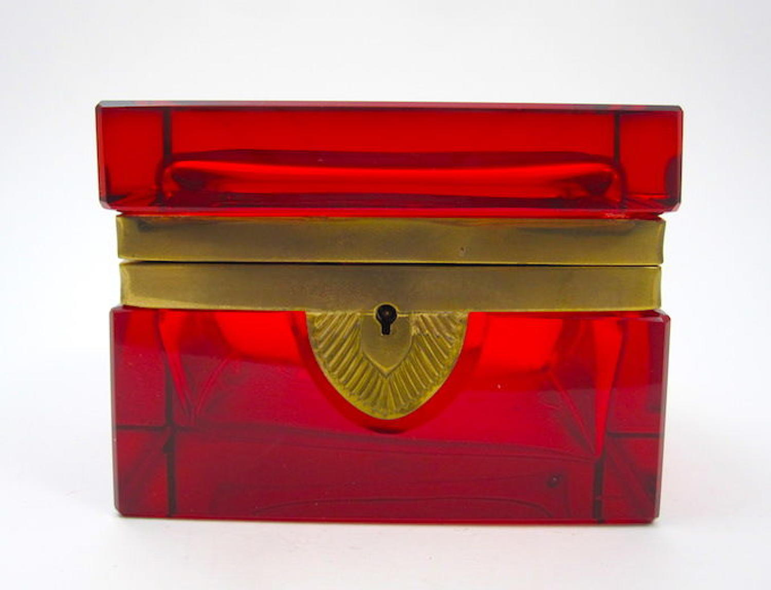 Antique Rectangular Ruby Red Glass Casket with Bronze Mounts