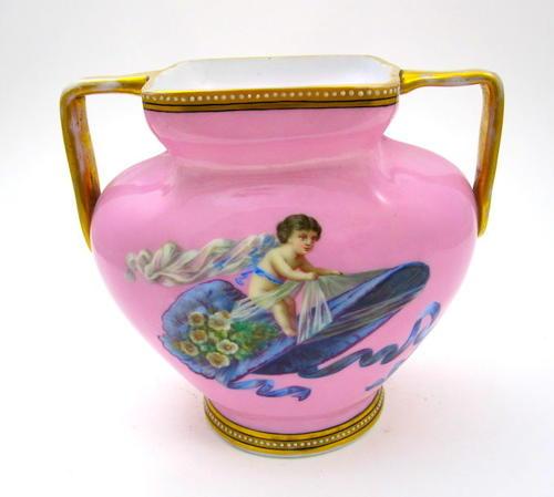 Antique French Pink Opaline Vase