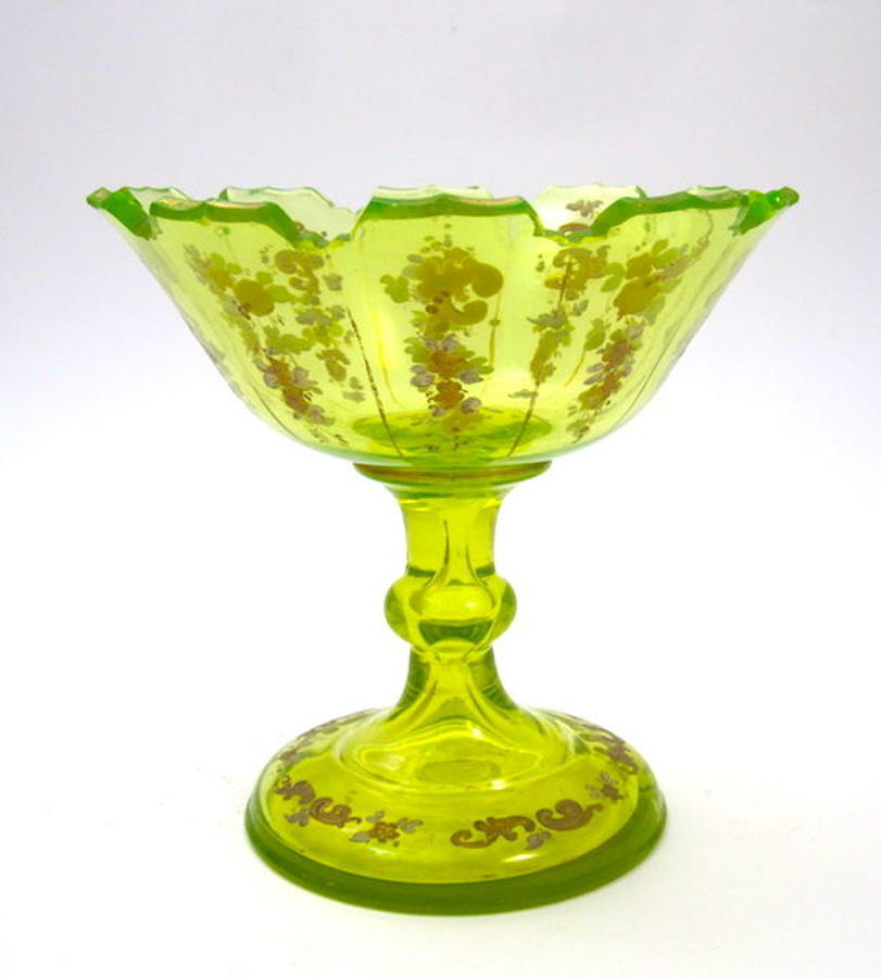 Antique Bohemian Uranium Cut Glass Bowl with Fine Enamelling