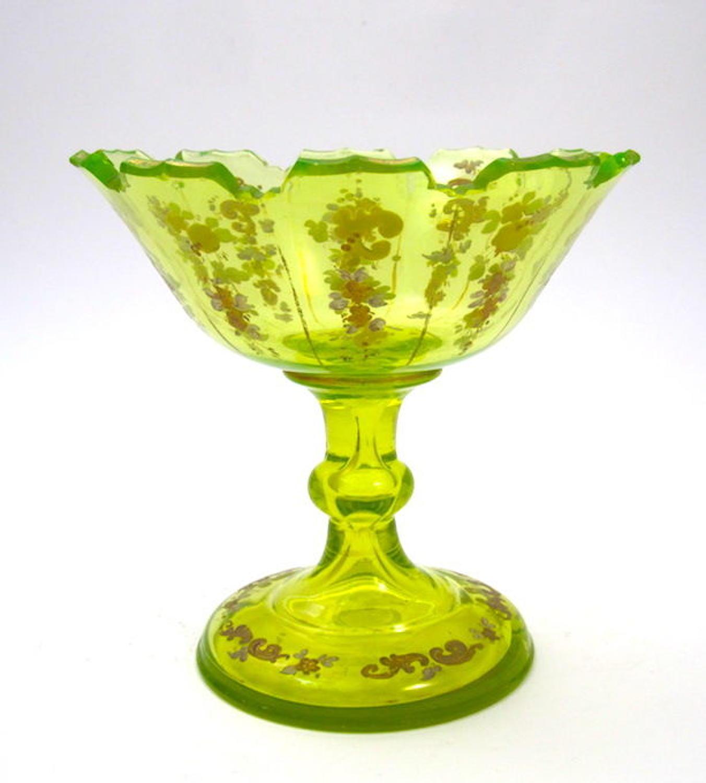 Antique Bohemian Uranium Cut Glass Bowl with Fine Enamelling