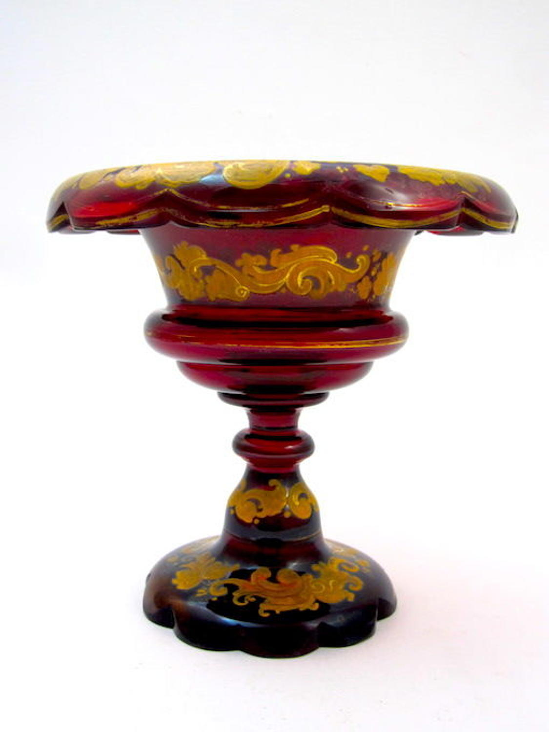 Antique Bohemian Deep Ruby Red Enamelled Bowl