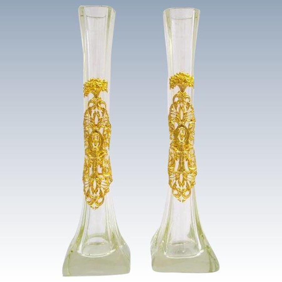 Pair of Elegant Antique Empire Crystal and Dore Bronze Vases
