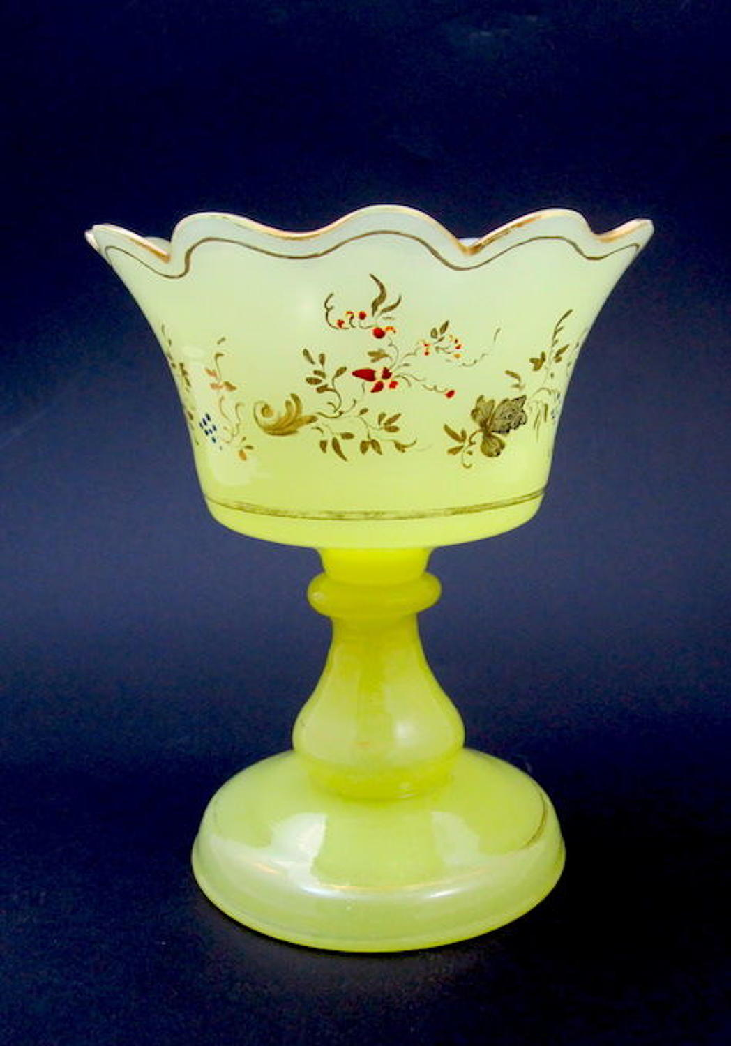RARE Antique Yellow Opaline Glass Bowl with Fine Enamelled Flowers.