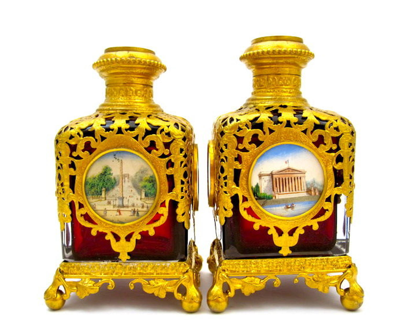 Rare Pair of Large Antique Palais Royal Ruby Red Glass Perfume Bottles