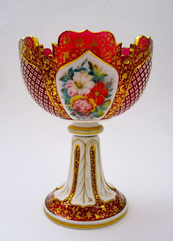 Antique Bohemian Cranberry Overlay Glass Bowl