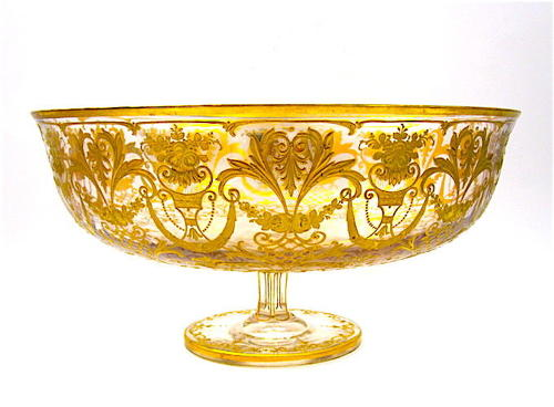 Very Large Stunning Antique Gilded Moser Centrepiece.