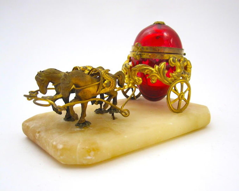Antique Palais Royal Cranberry Glass Egg Thimble Holder