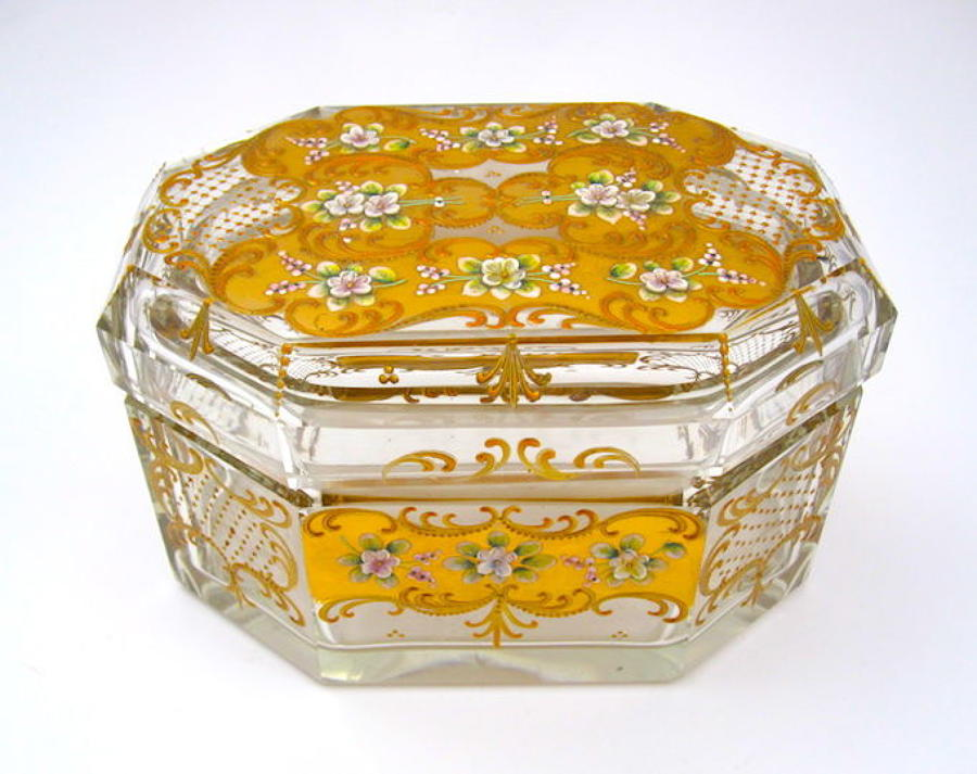 Unusual Antique  MOSER Casket with Applied High Relief Flowers