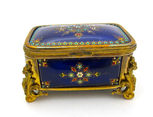 Palais Royal Antique French 'Bombe' Jewel Casket with Enamelled Panels