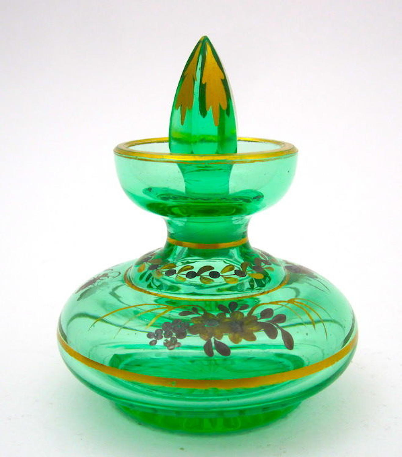 Miniature Antique Uranium Glass Enamelled Perfume Bottle