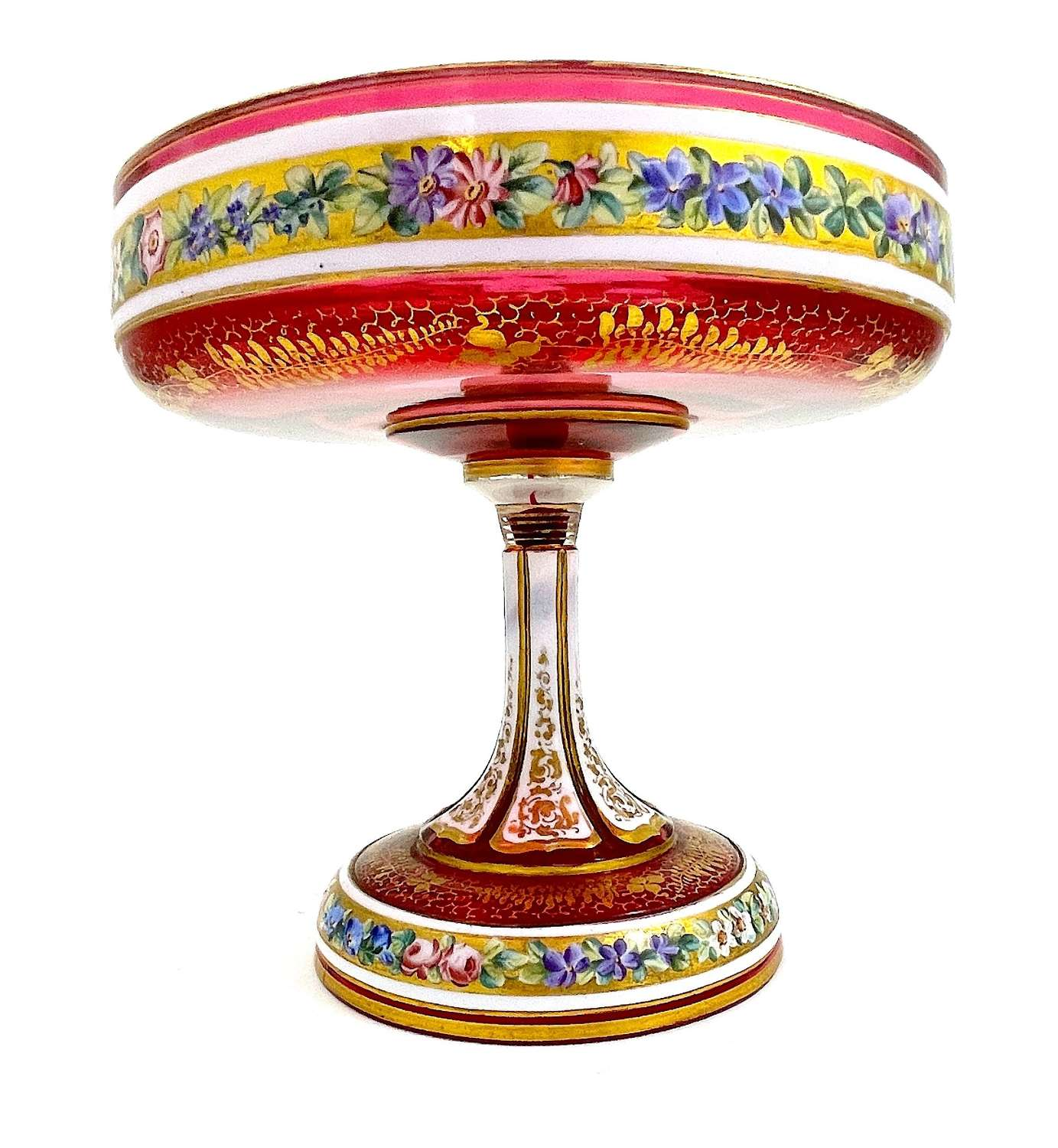Antique Bohemian Cranberry Overlay Glass Tazza