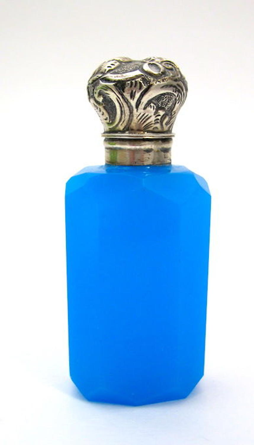 Antique Blue Opaline Glass Perfume Bottle