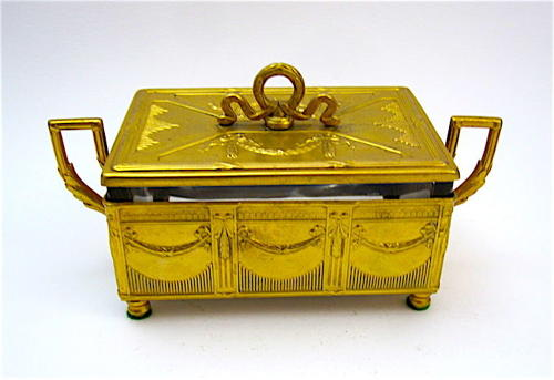 Antique Polish/Russian Brass and Crystal Casket Box