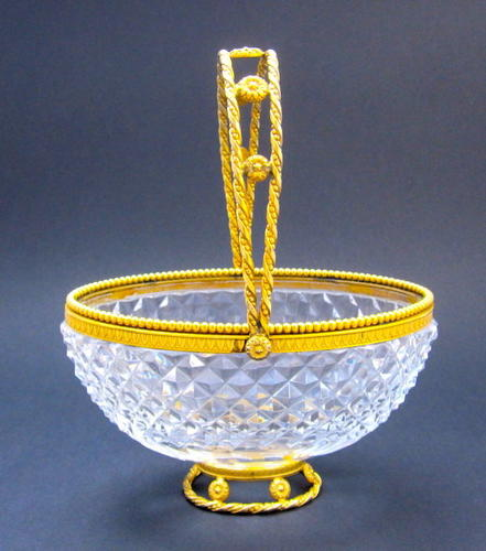 Antique French Cut Crystal and Dore Bronze Basket