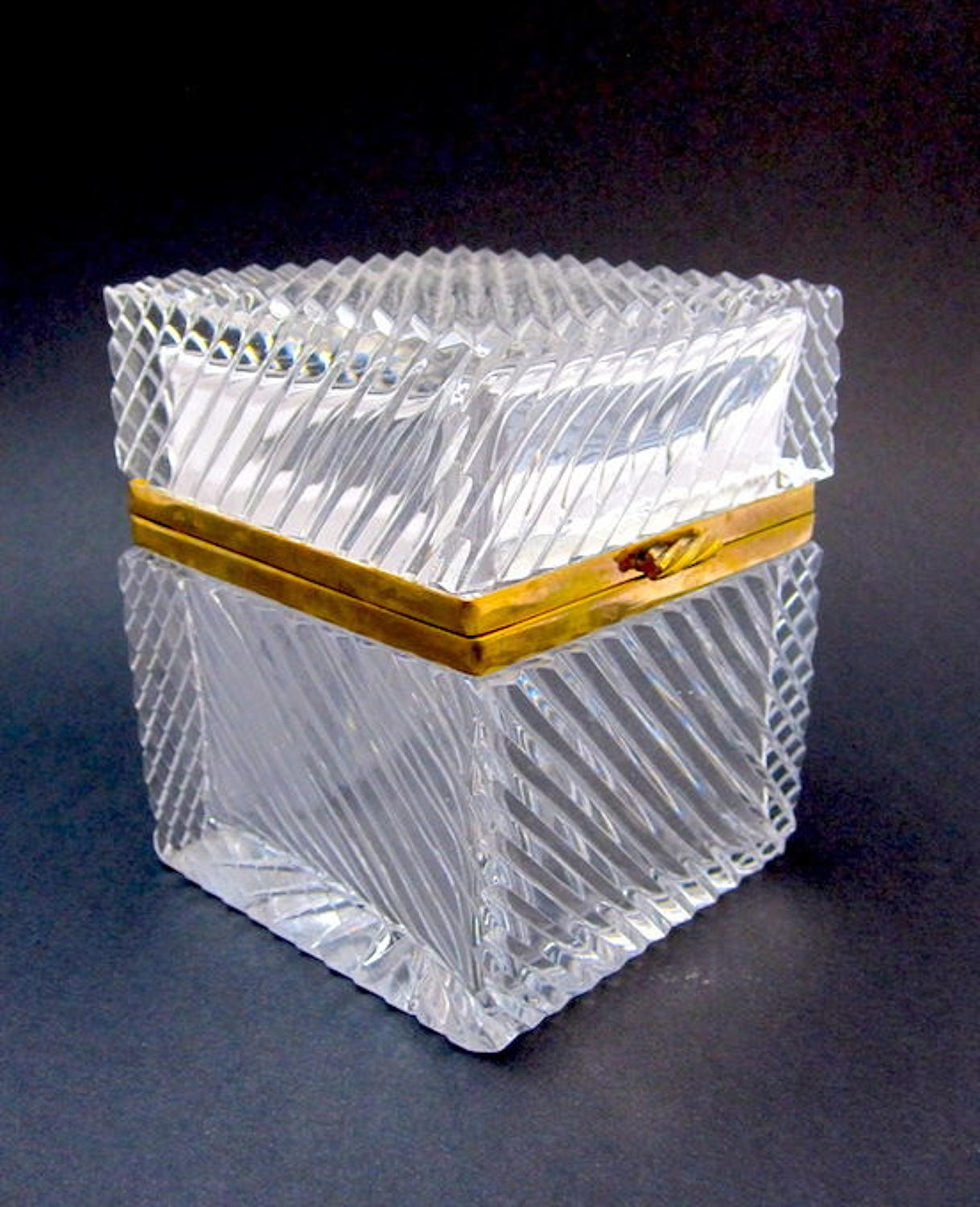 Antique French Cut Crystal Casket Box