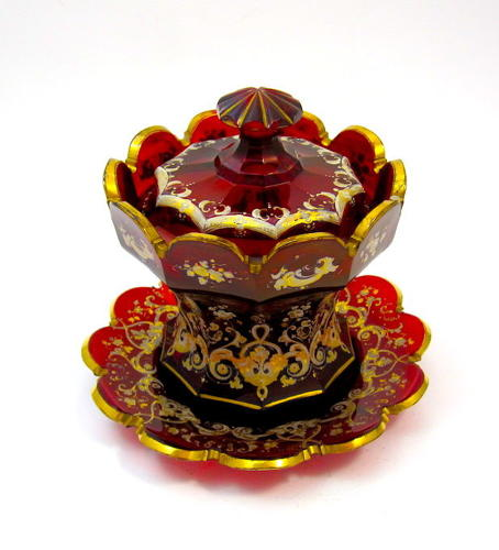 High Quality Antique Bohemian Ruby Red Glass Bowl, Cover and Plate.