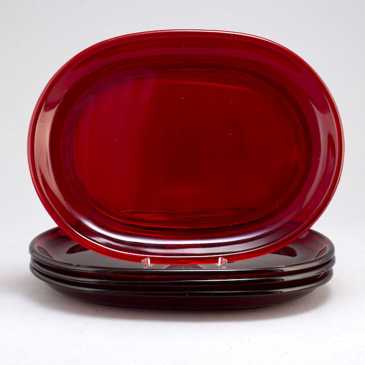 Four Antique Large Bohemian Ruby Red Glass Lobster Plates