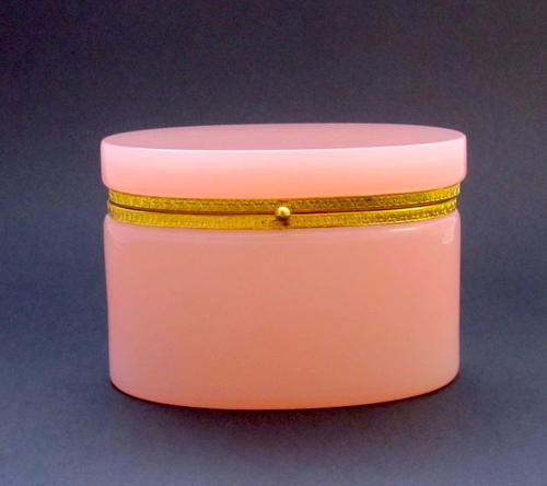 Antique French Pink Opaline Oval Casket with Dore Bronze Mounts