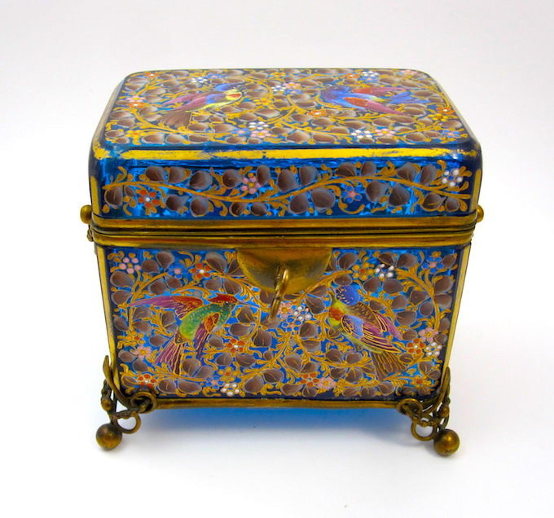 Large Antique MOSER Bohemian Turquoise Blue Casket Box