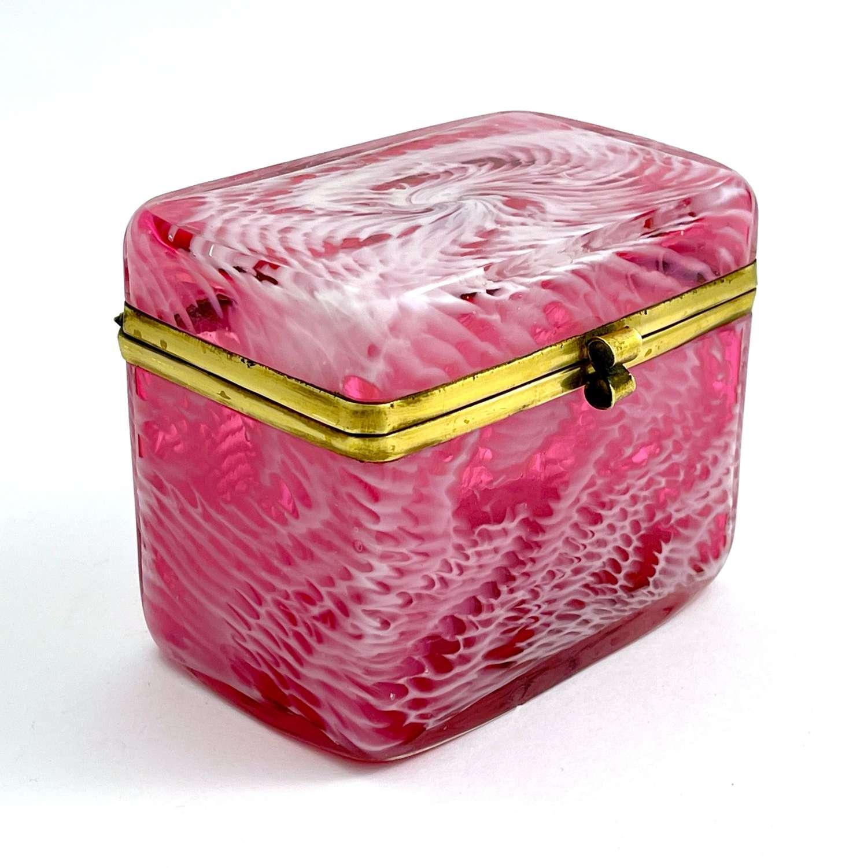 RARE Antique French Clichy Pink Cranberry Glass Casket